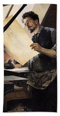 Felicien Rops 1833-98 In His Studio Oil On Canvas Bath Towel