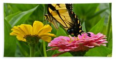 Female Tiger Swallowtail Butterfly With Pink And Yellow Zinnias Hand Towel
