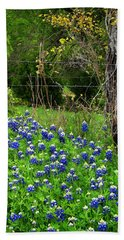 Fenced In Bluebonnets Hand Towel by David and Carol Kelly