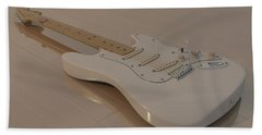 Fender Stratocaster In White Bath Towel by James Barnes