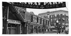 Fenway Park Banner Black And White Bath Towel