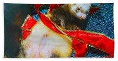 Bath Towel featuring the photograph Ferrety Christmas IIi by Cassandra Buckley
