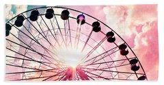 Ferris Wheel In Pink And Blue Bath Towel