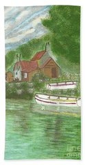 Hand Towel featuring the painting Ferryman's Cottage by Tracey Williams