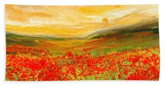 Field Of Poppies- Field Of Poppies Impressionist Painting Hand Towel