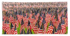 Field Of Us Flags Bath Towel by Mike Ste Marie