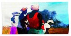 Bath Towel featuring the painting Field Women by Vannetta Ferguson