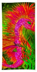 Hand Towel featuring the painting Fiery Sea Horse by Adria Trail
