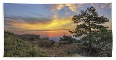 Fiery Sunrise From Atop Mt. Nebo - Arkansas Hand Towel