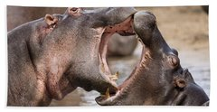 Fighting Hippos Hand Towel by Richard Garvey-Williams