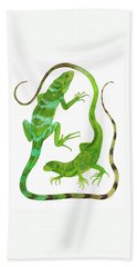 Fijian Iguanas Hand Towel by Cindy Hitchcock