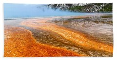 Fire And Ice - Grand Prismatic Spring On A Cloudy Day. Hand Towel