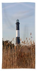 Bath Towel featuring the photograph Fire Island Tower by Karen Silvestri