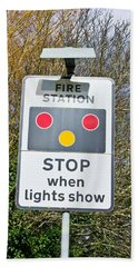 Fire Station Sign Hand Towel