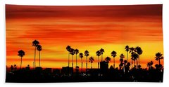 Hand Towel featuring the photograph Fire Sunset In Long Beach by Mariola Bitner