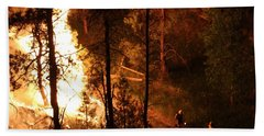 Bath Towel featuring the photograph Firefighters Burn Out On The White Draw Fire by Bill Gabbert