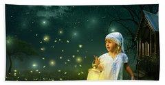 Fireflies Bath Towel by Linda Lees