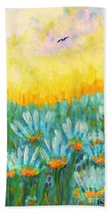 Hand Towel featuring the painting Firelight by Holly Carmichael