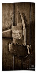 Fireman - Fire Axe In Black And White Bath Towel