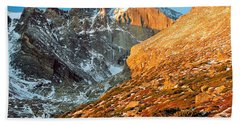 First Light At Longs Peak Hand Towel by Eric Glaser