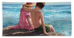 First Love By The Seashore Bath Towel