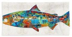 Fish Art Print - Colorful Salmon - By Sharon Cummings Bath Towel