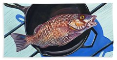 Fish Fry Bath Towel by Susan Duda