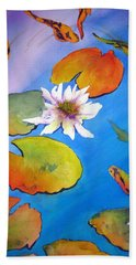 Fish Pond I Hand Towel by Lil Taylor