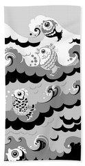 Bath Towel featuring the digital art Fish Waves by Carol Jacobs