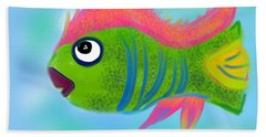 Hand Towel featuring the digital art Fish Wish by Christine Fournier