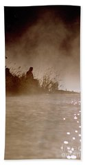 Fisher In The Mist Hand Towel by Sharon Elliott