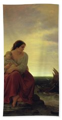 Fishermans Wife Mourning On The Beach Oil On Canvas Bath Towel