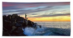 Fishing At Sunset Hand Towel