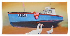 Fishing Boat Walberswick With Geese Hand Towel
