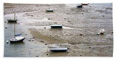 Fishing Boats At Low Tide Hand Towel
