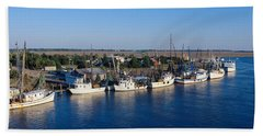 Fishing Boats In Intercoastal Waterway Hand Towel