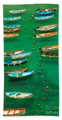 Fishing Boats In Vernazza Hand Towel