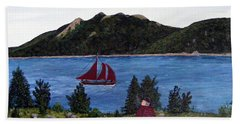 Hand Towel featuring the painting Fishing Schooner by Barbara Griffin