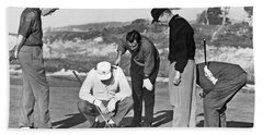 Five Golfers Looking At A Ball Hand Towel by Underwood Archives