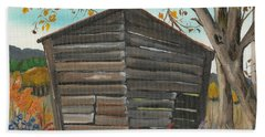 Bath Towel featuring the painting Autumn - Shack - Woodshed by Jan Dappen