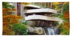 Fixer Upper - Square Version - Frank Lloyd Wright's Fallingwater Bath Towel