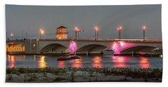 Flagler Bridge In Pink Hand Towel