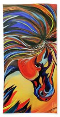 Bath Towel featuring the painting Flame Bold And Colorful War Horse by Janice Rae Pariza