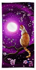 Flame Point Siamese Cat In Dancing Cherry Blossoms Bath Towel by Laura Iverson