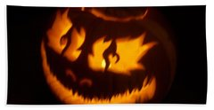 Hand Towel featuring the photograph Flame Pumpkin Side by Shawn Dall