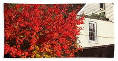 Bath Towel featuring the photograph Flaming Fall Colours On Farm House by Nina Silver
