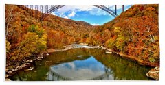 Flaming Fall Foliage At New River Gorge Hand Towel by Adam Jewell