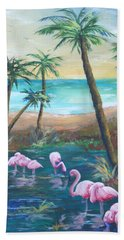 Flamingo Beach Bath Towel