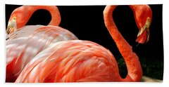 Flamingo Couple Hand Towel by Kristine Merc