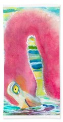 Flamingo Eating Bath Towel by C Sitton